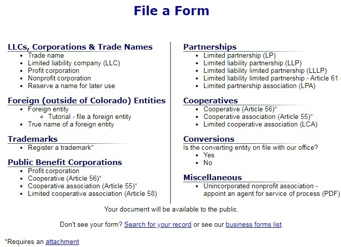 Screenshot of the page to file a form to register an entity on the Colorado Secretary of State's website