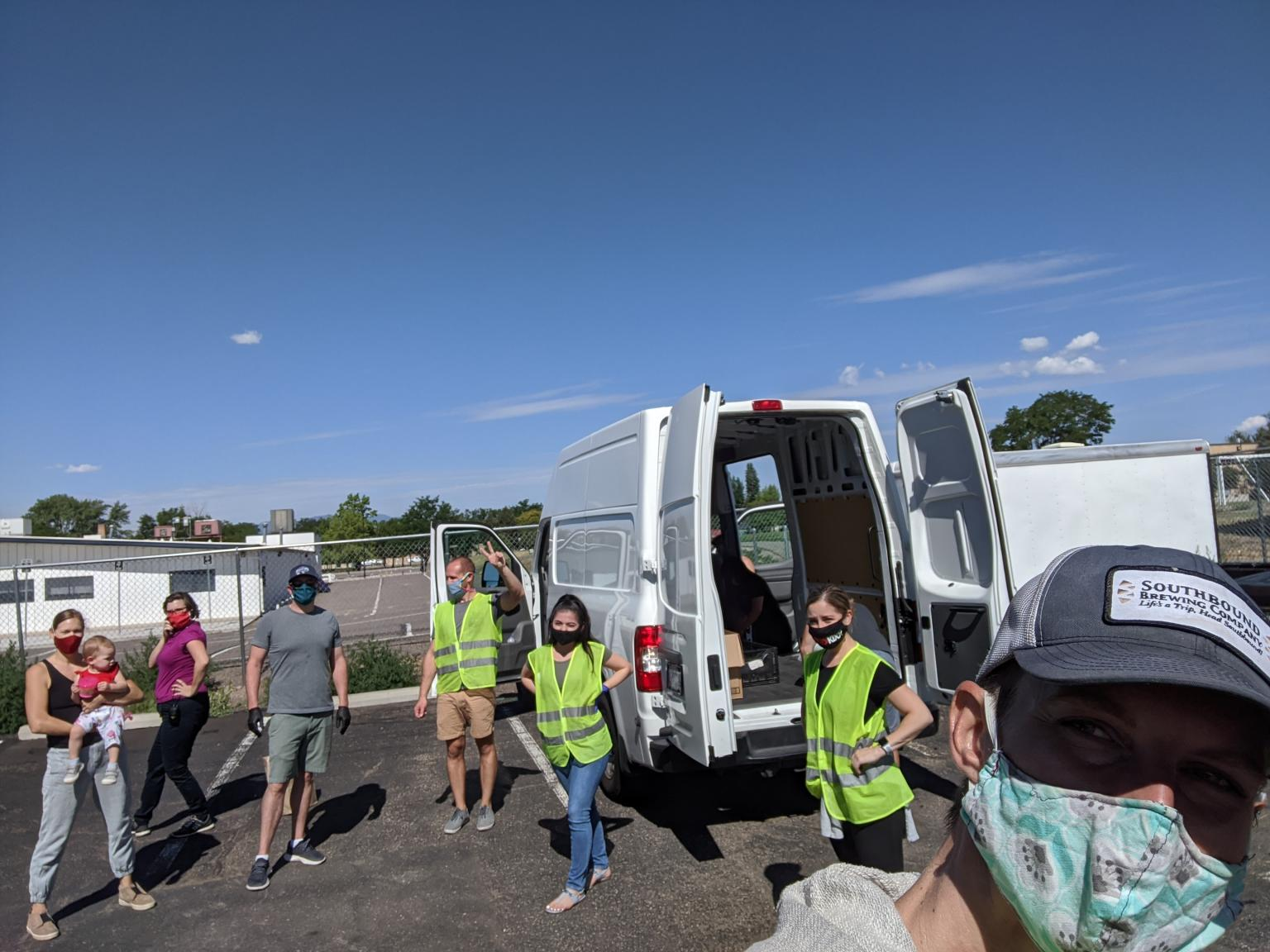 Good Business Colorado members on the first of two days of service with Growing Home in front of the Bondadosa truck on a beautiful Colorado Saturday morning - ready to lend a hand to help families in need!