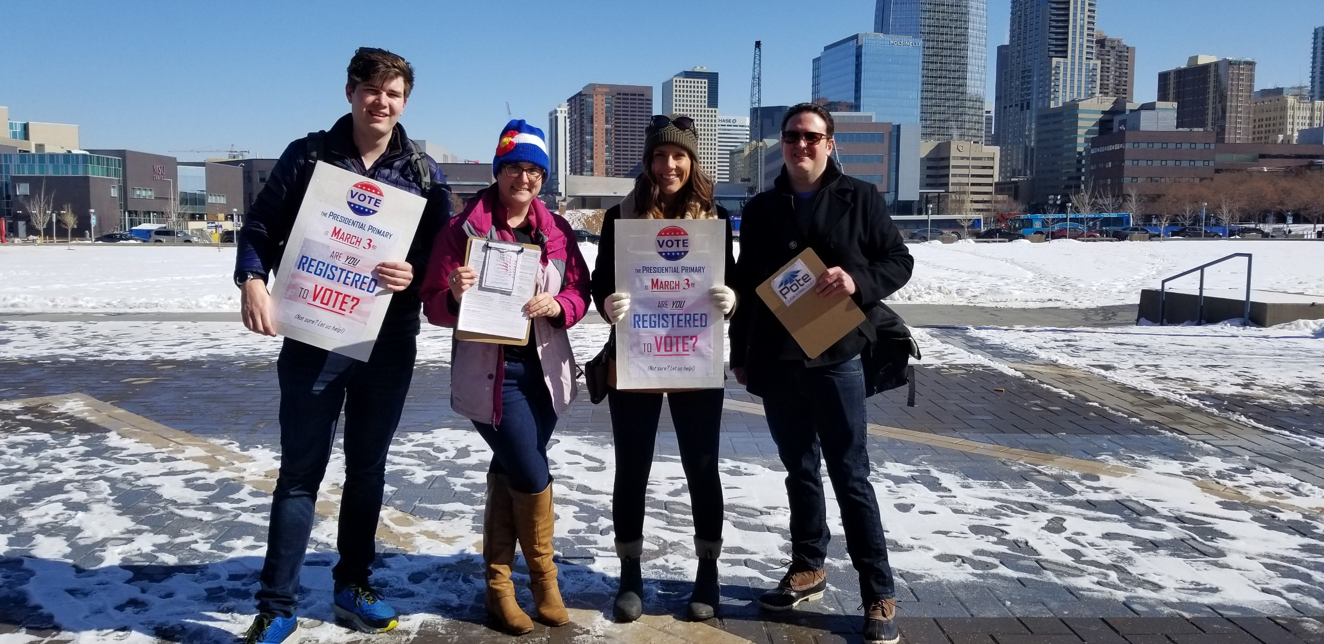 Beautiful Colorado day on Auraria Campus in front of Tivoli with these wonderful volunteers helping to register Colorado voters